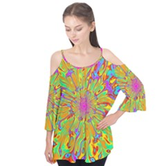 Magic Ripples Flower Power Mandala Neon Colored Flutter Tees