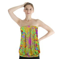 Magic Ripples Flower Power Mandala Neon Colored Strapless Top