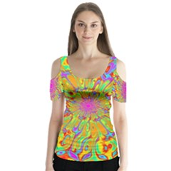 Magic Ripples Flower Power Mandala Neon Colored Butterfly Sleeve Cutout Tee