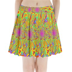 Magic Ripples Flower Power Mandala Neon Colored Pleated Mini Skirt