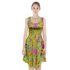 Magic Ripples Flower Power Mandala Neon Colored Racerback Midi Dress