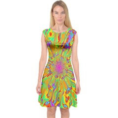 Magic Ripples Flower Power Mandala Neon Colored Capsleeve Midi Dress