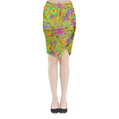 Magic Ripples Flower Power Mandala Neon Colored Midi Wrap Pencil Skirt