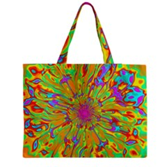 Magic Ripples Flower Power Mandala Neon Colored Medium Zipper Tote Bag