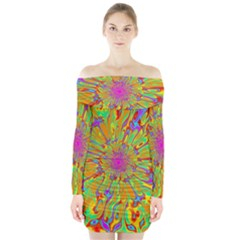 Magic Ripples Flower Power Mandala Neon Colored Long Sleeve Off Shoulder Dress
