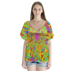 Magic Ripples Flower Power Mandala Neon Colored Flutter Sleeve Top