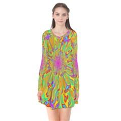 Magic Ripples Flower Power Mandala Neon Colored Flare Dress