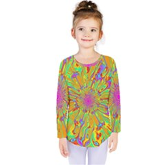 Magic Ripples Flower Power Mandala Neon Colored Kids  Long Sleeve Tee