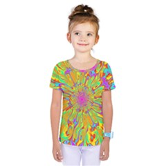 Magic Ripples Flower Power Mandala Neon Colored Kids  One Piece Tee