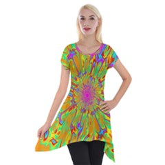 Magic Ripples Flower Power Mandala Neon Colored Short Sleeve Side Drop Tunic