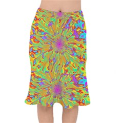 Magic Ripples Flower Power Mandala Neon Colored Mermaid Skirt
