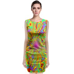 Magic Ripples Flower Power Mandala Neon Colored Sleeveless Velvet Midi Dress