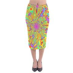 Magic Ripples Flower Power Mandala Neon Colored Velvet Midi Pencil Skirt