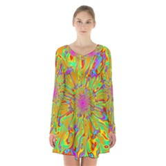 Magic Ripples Flower Power Mandala Neon Colored Long Sleeve Velvet V Neck Dress