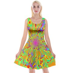 Magic Ripples Flower Power Mandala Neon Colored Reversible Velvet Sleeveless Dress