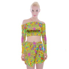 Magic Ripples Flower Power Mandala Neon Colored Off Shoulder Top With Skirt Set
