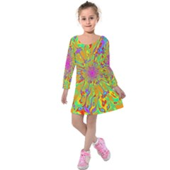 Magic Ripples Flower Power Mandala Neon Colored Kids  Long Sleeve Velvet Dress