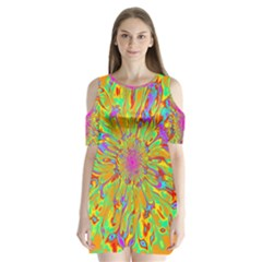 Magic Ripples Flower Power Mandala Neon Colored Shoulder Cutout Velvet  One Piece