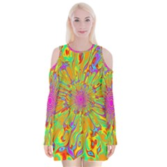 Magic Ripples Flower Power Mandala Neon Colored Velvet Long Sleeve Shoulder Cutout Dress