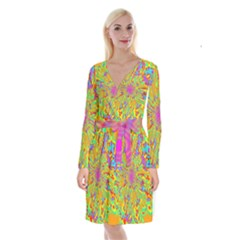 Magic Ripples Flower Power Mandala Neon Colored Long Sleeve Velvet Front Wrap Dress