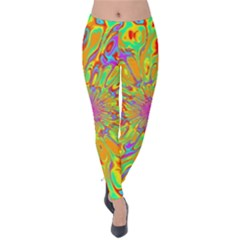 Magic Ripples Flower Power Mandala Neon Colored Velvet Leggings