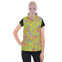 Magic Ripples Flower Power Mandala Neon Colored Women s Button Up Puffer Vest