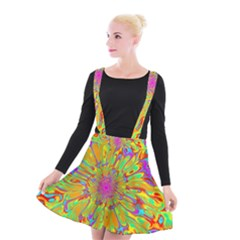 Magic Ripples Flower Power Mandala Neon Colored Suspender Skater Skirt