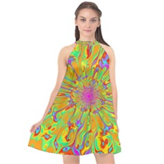 Magic Ripples Flower Power Mandala Neon Colored Halter Neckline Chiffon Dress