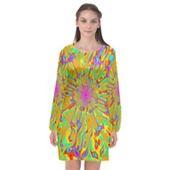 Magic Ripples Flower Power Mandala Neon Colored Long Sleeve Chiffon Shift Dress