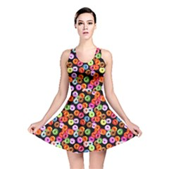 Colorful Yummy Donuts Pattern Reversible Skater Dress