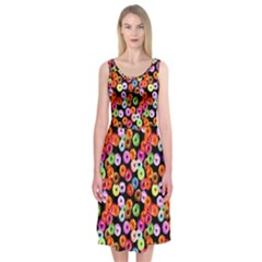 Colorful Yummy Donuts Pattern Midi Sleeveless Dress