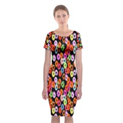 Colorful Yummy Donuts Pattern Classic Short Sleeve Midi Dress