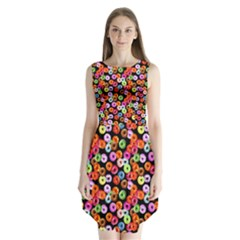 Colorful Yummy Donuts Pattern Sleeveless Chiffon Dress