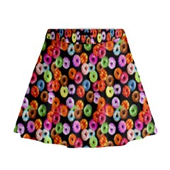 Colorful Yummy Donuts Pattern Mini Flare Skirt