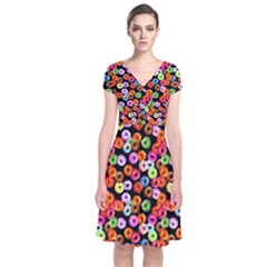 Colorful Yummy Donuts Pattern Short Sleeve Front Wrap Dress