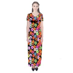 Colorful Yummy Donuts Pattern Short Sleeve Maxi Dress