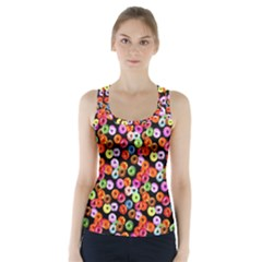 Colorful Yummy Donuts Pattern Racer Back Sports Top