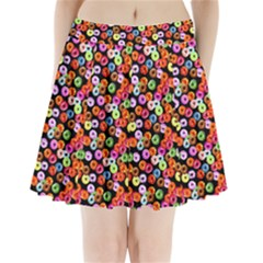 Colorful Yummy Donuts Pattern Pleated Mini Skirt