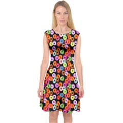 Colorful Yummy Donuts Pattern Capsleeve Midi Dress