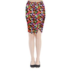 Colorful Yummy Donuts Pattern Midi Wrap Pencil Skirt