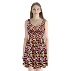 Colorful Yummy Donuts Pattern Split Back Mini Dress
