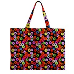 Colorful Yummy Donuts Pattern Medium Zipper Tote Bag