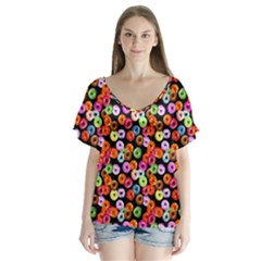 Colorful Yummy Donuts Pattern Flutter Sleeve Top