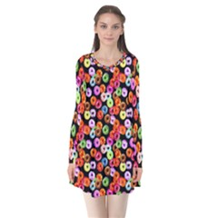 Colorful Yummy Donuts Pattern Flare Dress