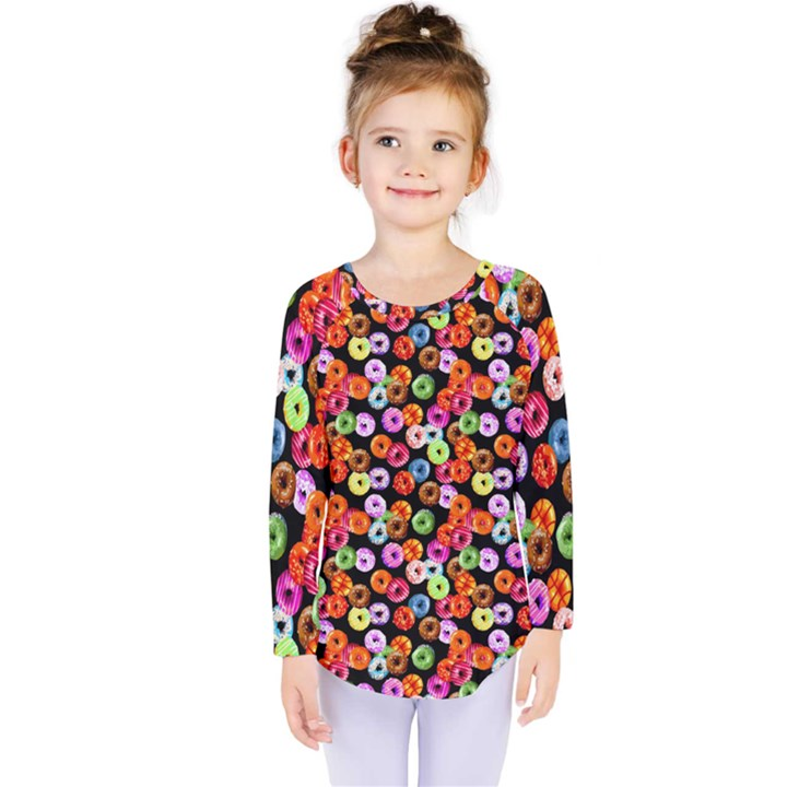 Colorful Yummy Donuts Pattern Kids  Long Sleeve Tee