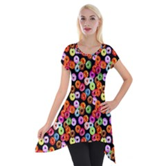 Colorful Yummy Donuts Pattern Short Sleeve Side Drop Tunic