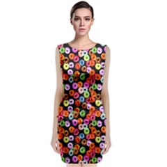 Colorful Yummy Donuts Pattern Sleeveless Velvet Midi Dress
