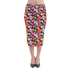 Colorful Yummy Donuts Pattern Velvet Midi Pencil Skirt