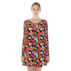 Colorful Yummy Donuts Pattern Long Sleeve Velvet V Neck Dress