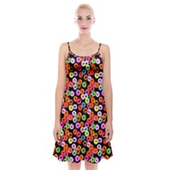 Colorful Yummy Donuts Pattern Spaghetti Strap Velvet Dress